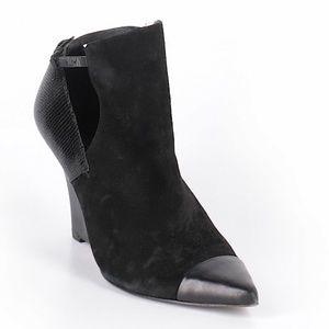 Elie Tahari Suede & Embossed Leather Wedges
